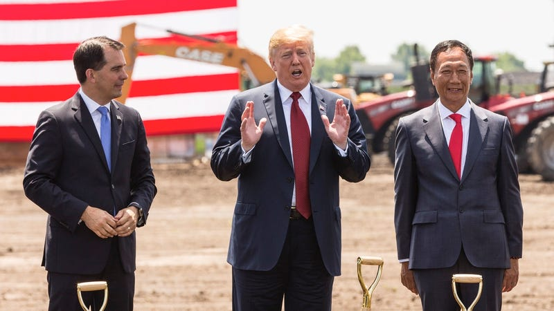 Wisconsin Governor Scott Walker, President Donald Trump, and Foxconn CEO Terry Gou at the groundbreaking for the Foxconn plant on June 28, 2018