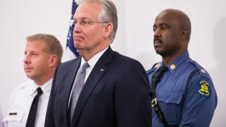 Missouri Gov. Jay Nixon (center) stands with St. Louis Chief of Police Sam Dotson (left) and Missouri Highway Patrol Capt. Ron Johnson during a press conference Nov. 11, 2014, to discuss law-enforcement preparations for the announcement of the grand jury's decision regarding Ferguson, Mo., police Officer Darren Wilson.Scott Olson/Getty Images