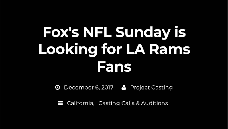 Illustration for article titled FOX Is Seeking Los Angeles-Area Actors Who Can Pretend To Be Rams Fans