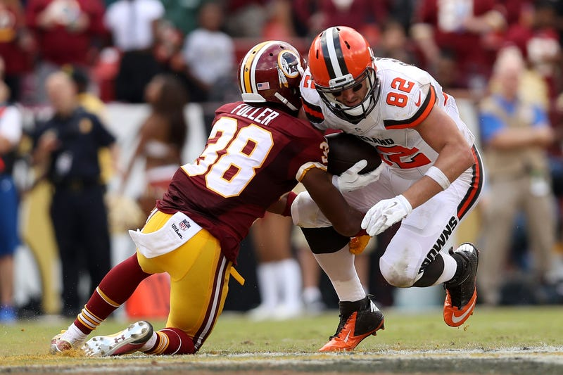 Tight end Gary Barnidge, No. 82, of the Cleveland Browns carries the ball against cornerback Kendall Fuller, No. 38, of the Washington Redskins in the fourth quarter at FedExField on Oct. 2, 2016, in Landover, Md.Patrick Smith/Getty Images