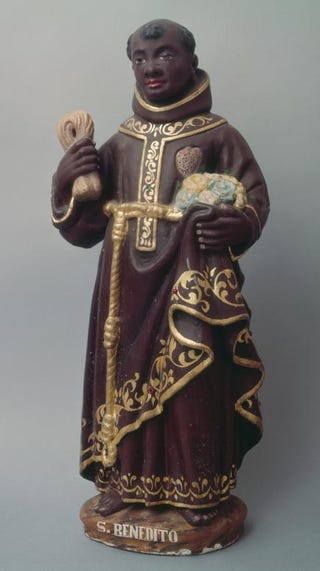 St. Benedict of Palermo, 17th century. Polychromed wood, 62 cm.Chapel of Our Lady of Conception, Aradas, Portugal