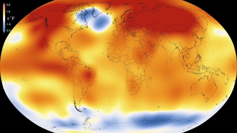 Globally averaged temperature anomalies in 2015. Image: NOAA