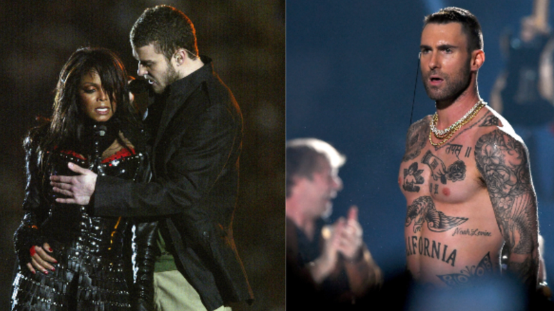 (L-R): Singers Janet Jackson and Justin Timberlake perform during the halftime show at Super Bowl XXXVIII  on February 1, 2004 in Houston, Texas; Adam Levine of Maroon 5 performs during the Pepsi Super Bowl LIII Halftime Show on February 3, 2019 in Atlanta, Georgia.
