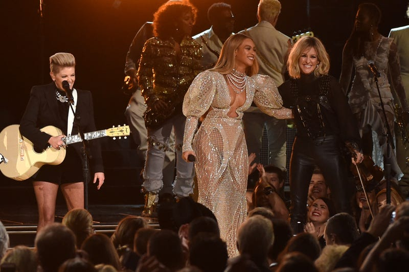 Beyoncé (center) performs onstage with the Dixie Chicks at the 50th annual Country Music Association Awards at the Bridgestone Arena on Nov. 2, 2016, in Nashville, Tenn.  Rick Diamond/Getty Images