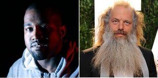 Kanye West in 2013 (Shareif Ziyadat/FilmMagic/Getty Images); Rick Rubin in 2012 (Jon Kopaloff/FilmMagic/Getty Images)