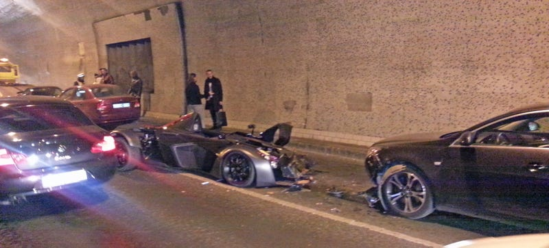 Illustration for article titled Josh Cartu Just Crashed A BAC Mono In A Tunnel In Budapest
