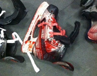 Illustration for article titled A Scary Minor League Hockey Injury Led To This Blood-Covered Skate