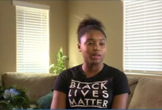 """Mariah Havard was asked to remove her """"Black Lives Matter"""" T-shirt after another student at her high school complained on Aug. 23, 2016, in Buckeye, Ariz.KPNX screenshot"""