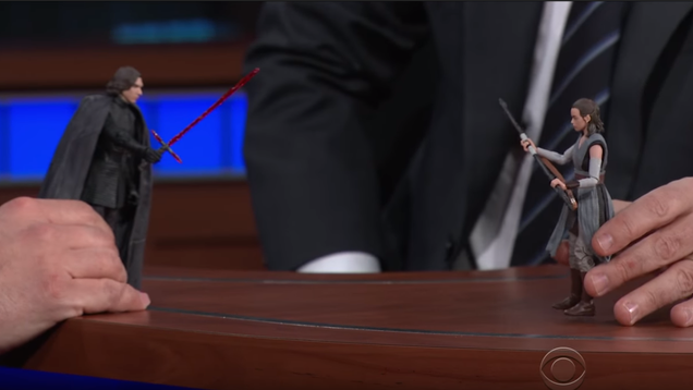 Adam Driver and Stephen Colbert Act Out A Star Wars Scene With Action Figures