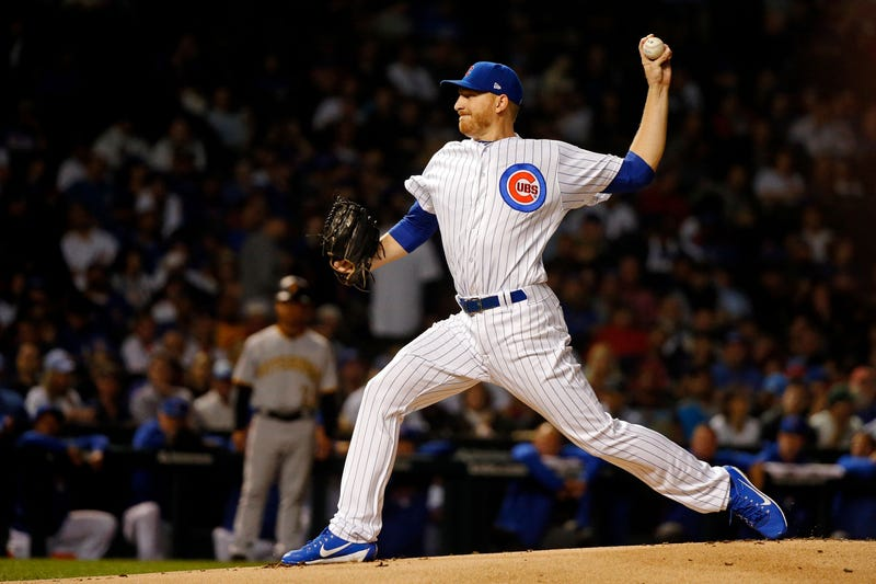 Mike Montgomery #38 of the Chicago Cubs pitches against the Pittsburgh Pirates during the first inning at Wrigley Field on Sept. 25, 2018 in Chicago, Illinois.