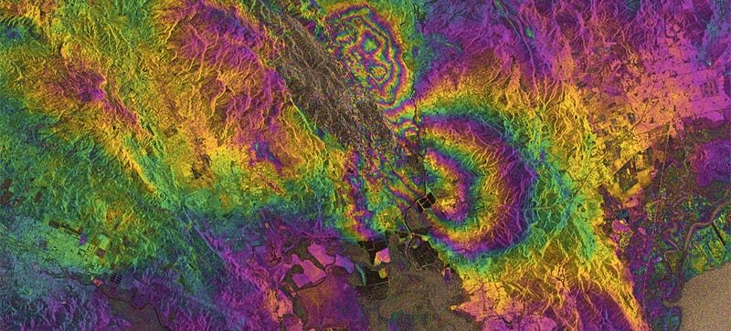 Illustration for article titled Radar Eyes Can See the Scars of the Napa Valley Quake From Space