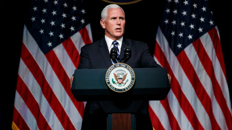 U.S. Vice President Mike Pence speaking earlier today at the Pentagon, where he announced the creation of the new Space Force.