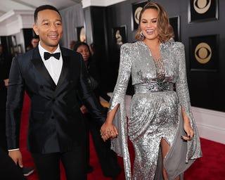 Chrissy Teigen and her husband, singer John Legend, in New York City for the Grammys on Jan. 28, 2018