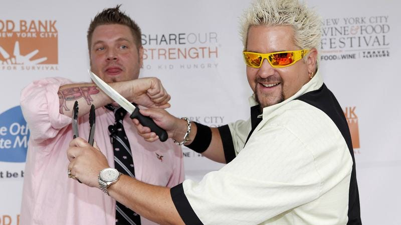 """Illustration for article titled """"Pizzagate"""" conspiracy theorists question how no one has noticed Guy Fieri is an Illuminati wizard"""