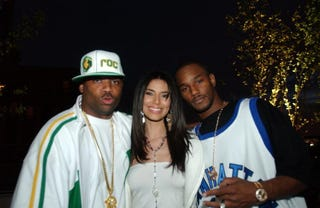 Damon Dash, Roselyn Sanchez and Cam'ron attend the spring opening of Sky Terrace at Ian Schrager's Hudson Hotel May 20, 2003, in New York City. (Stephen Chernin/Getty Images)