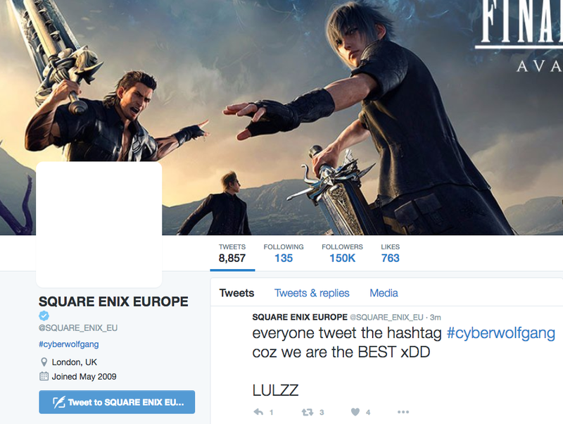 Illustration for article titled Square Enix Europe's Twitter Account Was Hacked