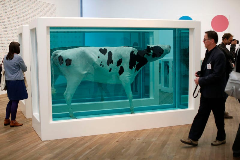 "Damien Hirst's ""Mother and Child Divided"" at the Tate Modern in London. AP Photo/Matt Dunham"