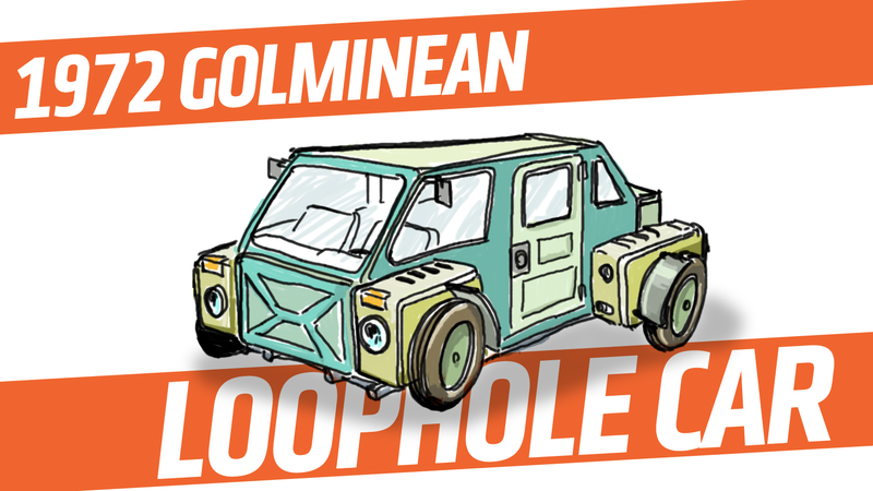 Illustration for article titled An Imaginary Car From An Imaginary Country: 1972 Golminean Loophole Car