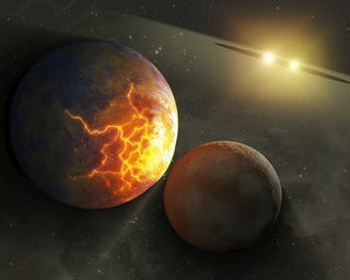 Illustration for article titled Binary stars could be causing massive planetary collisions