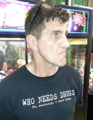 """Illustration for article titled Man In """"No, Seriously, I Have Drugs"""" Shirt Charged With Drug Possession"""