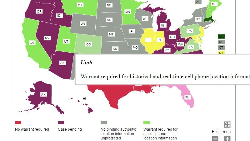 Illustration for article titled Learn Your State's Cell Phone Location Tracking Laws With This Chart