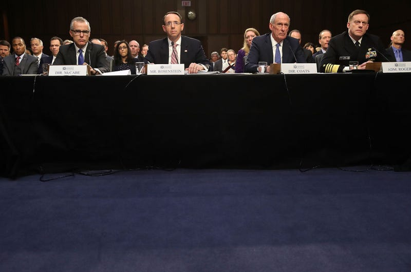 Acting FBI Director Andrew McCabe, Deputy Attorney General Rod Rosenstein, Director of National Intelligence Dan Coats and National Security Agency Director Adm. Michael Rogers appear before the Senate Intelligence Committee in the Hart Senate Office Building on Capitol Hill in Washington, D.C., on June 7, 2017. (Mark Wilson/Getty Images)