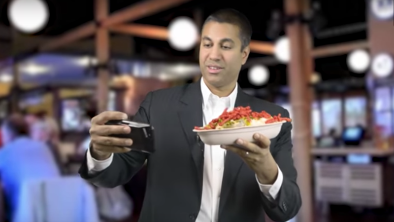 Ajit Pai, displaying more transparency regarding his lunch than the FCC will ever reveal about policy on his watch.