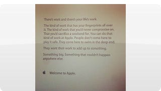 Illustration for article titled The Inspirational Note Apple Gives to New Employees on Their First Day