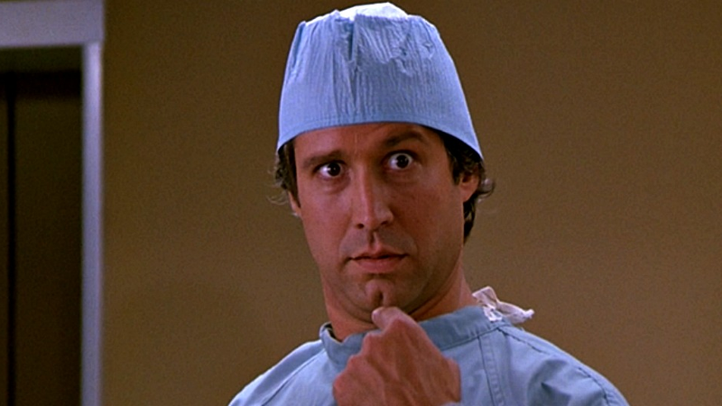 Chevy Chase, undercover as Fletch.
