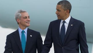 Chicago Mayor Rahm Emanuel and President Barack Obama. Emanuel was Obama's first White House chief of staff.Saul Loeb/AFP/Getty Images