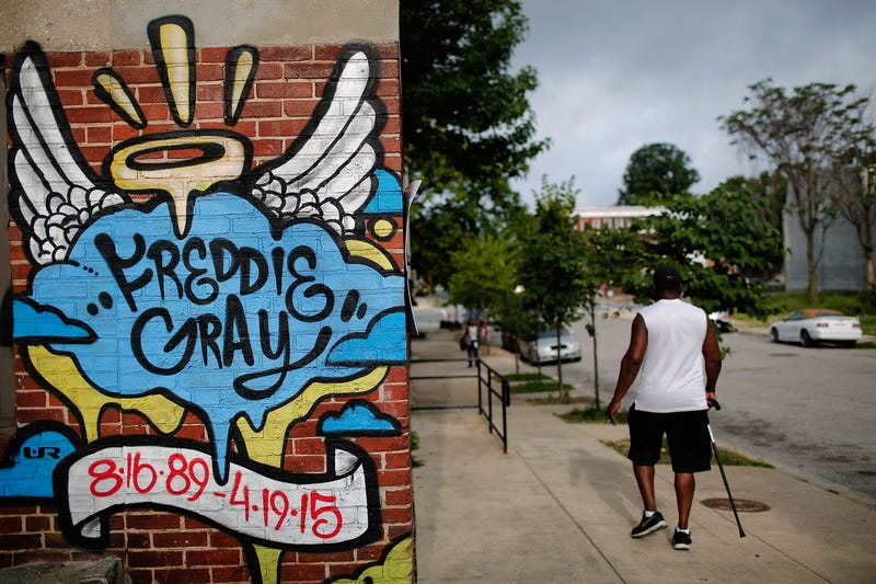 A mural dedicated to Freddie Gray is shown near the location where he was arrested. (Win McNamee/Getty Images)