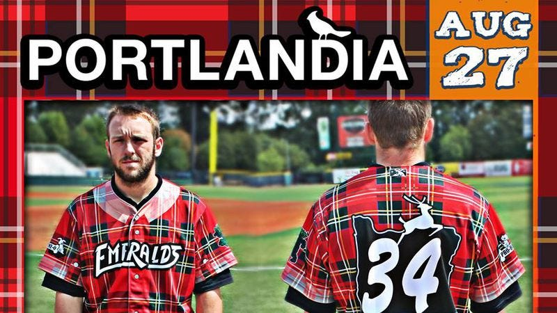 Illustration for article titled These Portlandia-themed baseball uniforms are just horrible