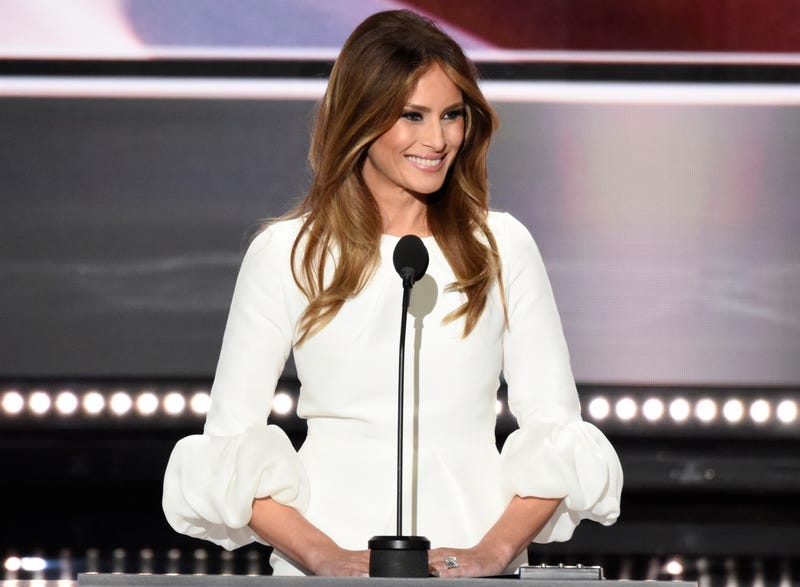 Melania Trump speaks at the  2016 Republican National Convention from the Convention Center in Cleveland on July 18, 2016.Ida Mae Astute/ABC via Getty Images