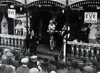 Illustration for article titled The strange history of the Frankenstein carnival sideshows