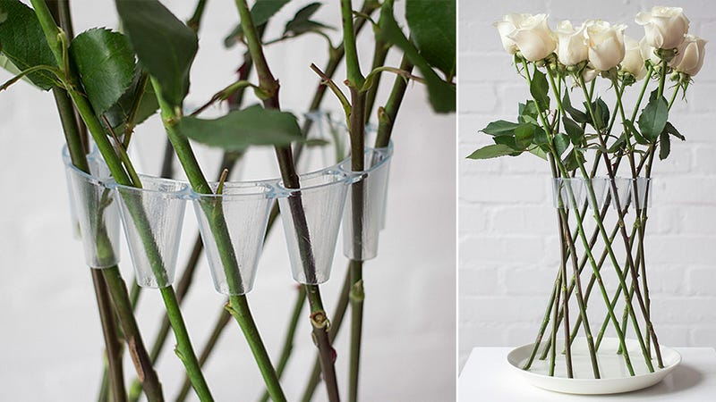 Illustration for article titled A Clever Plastic Brace Turns Long-Stemmed Flowers Into Their Own Vase