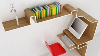 Illustration for article titled An All-in-One Workspace Made from a Ribbon of Wood