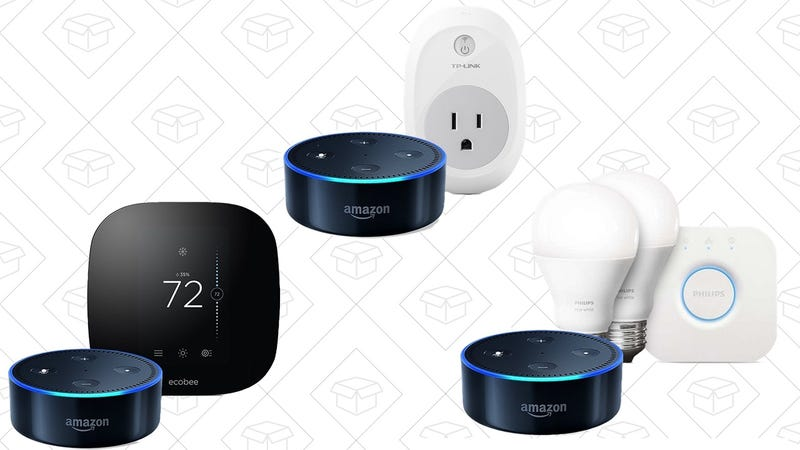 Dot + ecobee3 Thermostat, $200 | Dot + TP-Link Smart Plug, $70 | Dot + Philps Hue White Starter Kit, $100