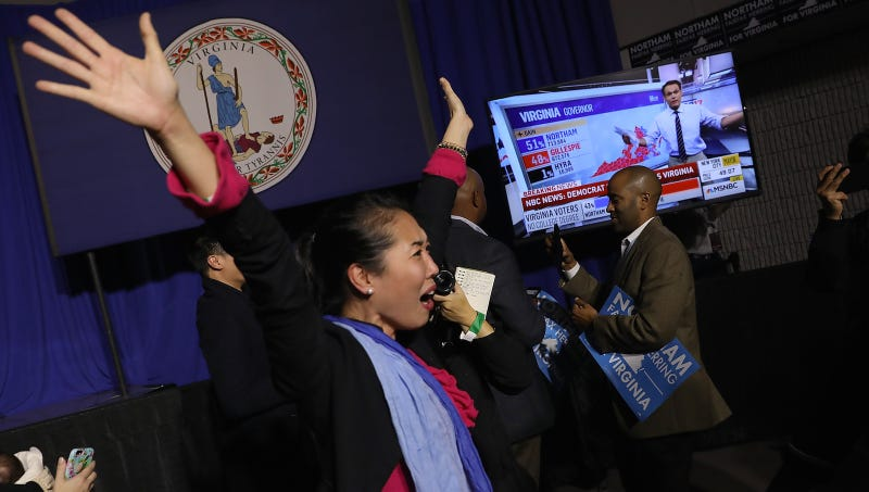 A Ralph Northam supporter celebrates his projected win in Virginia. Image via Getty.