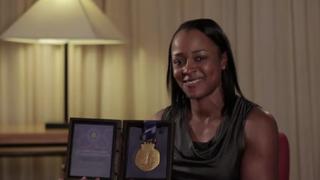 Vonetta Flowers discussing her gold-medal momentVonetta Flowers