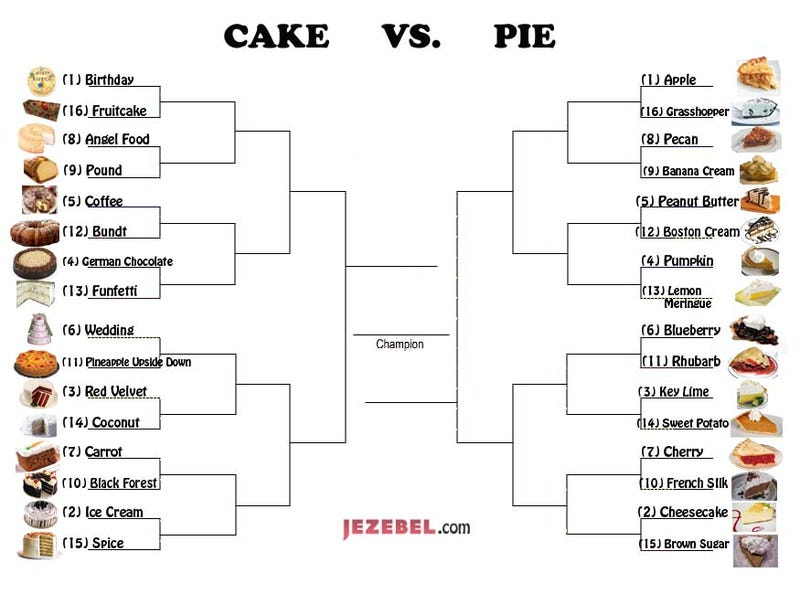Illustration for article titled March Madness: The Cake Vs. Pie Tournament