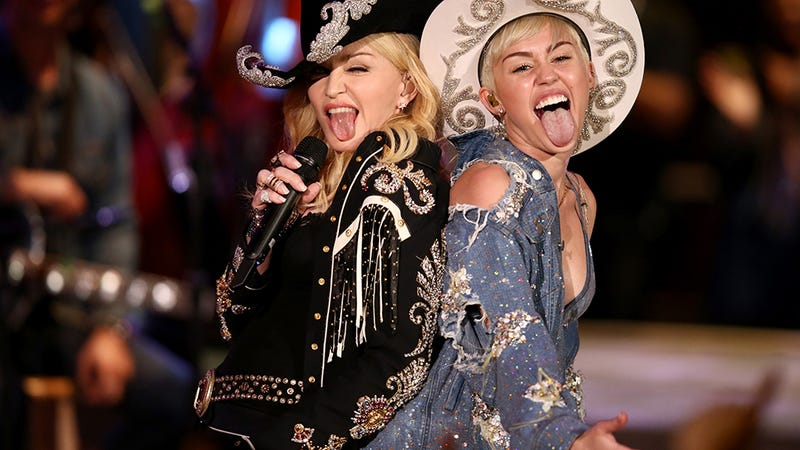 Illustration for article titled Madonna's Tongue Guest-Stars on Miley's Twerk-Filled Unplugged Special