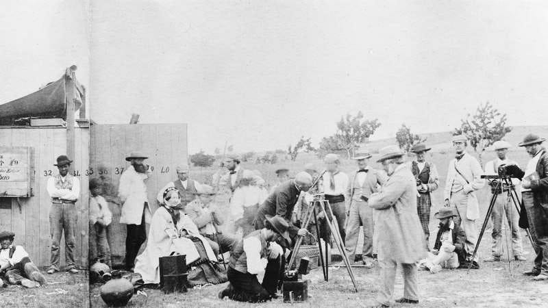 The lens of the telescope is just visible above its shelter. Warren De La Rue (1815-1889) a pioneer in astronomical photography, appears twice as this view was montaged from two separate photographs. The camp was established to observe an eclipse. (Photo: SSPL/Getty Images)