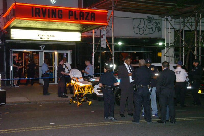 Police gather outside Irving Plaza in New York City on May 25, 2016, after a fatal shooting at a T.I. concert.Xinhua/David Torres via Getty Images