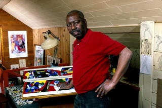 The late Jacob Lawrence in his Seattle studio. (Getty Images)