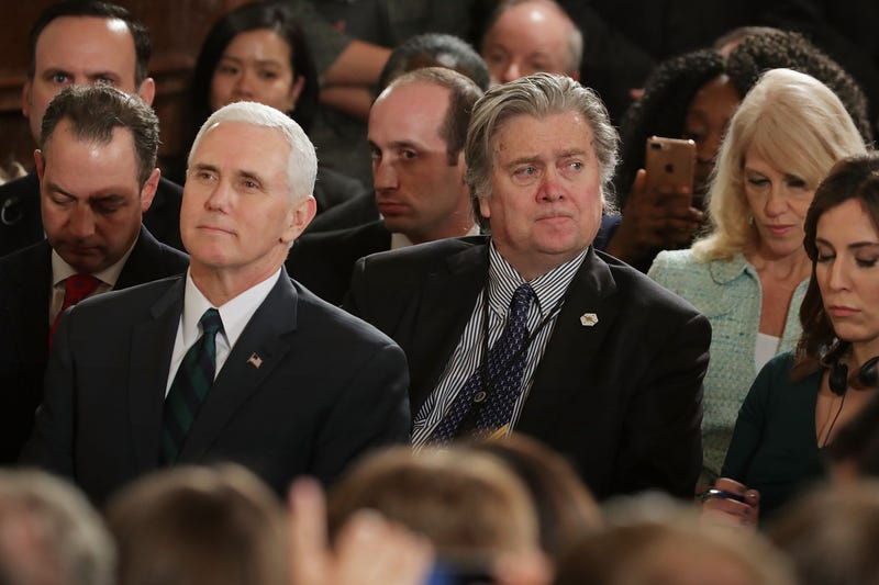 Vice President Mike Pence and White House chief strategist Steve Bannon (Chip Somodevilla/Getty Images)