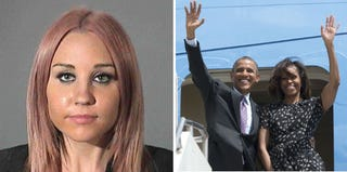 Amanda Bynes' booking photo (Getty Images); Barack and Michelle Obama (Saul Loeb/Getty Images)