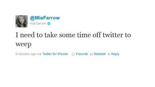Illustration for article titled Mia Farrow Takes A Little Time Off From Twitter To Weep