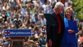 Democratic presidential candidate Hillary Clinton stands onstage with her husband, former President Bill Clinton, after her official kickoff rally at the Four Freedoms Park on Roosevelt Island in New York City on June 13, 2015.  Spencer Platt/Getty Images