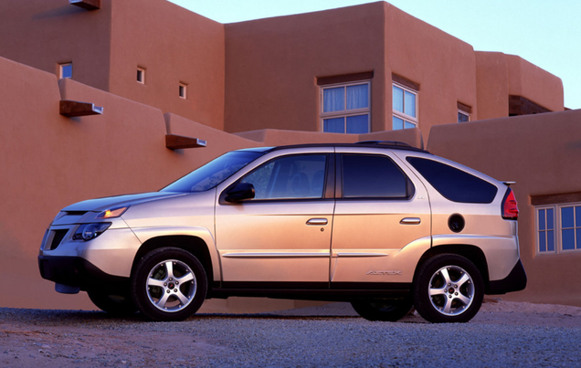 The Pontiac Aztek doubles down by using two Native American names (Aztecs are native Central America