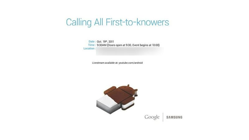 Illustration for article titled Your First Look at Android 4.0 Ice Cream Sandwich Happens Oct. 18
